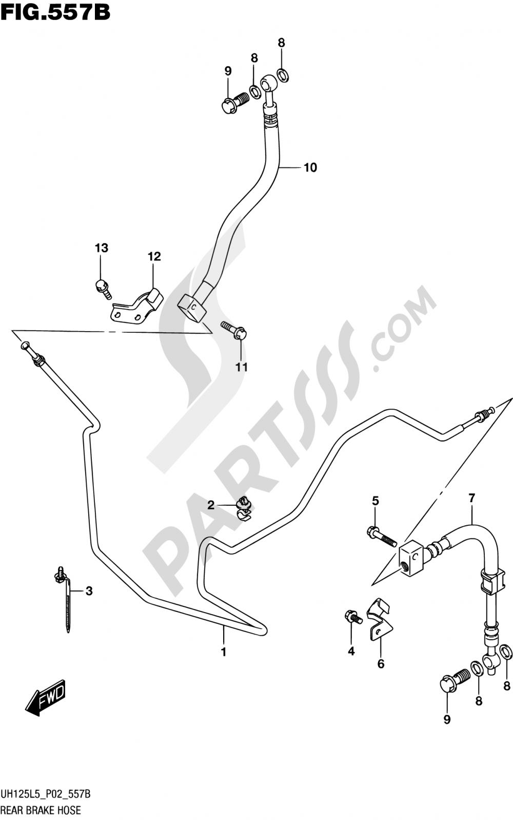 557B - REAR BRAKE HOSE (UH125L5 P04) Suzuki BURGMAN UH125A 2015