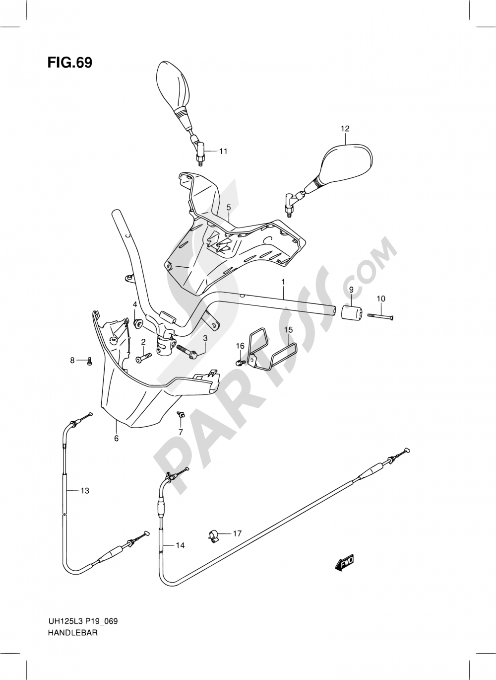 69 - HANDLEBAR (UH125GL3 P19) Suzuki BURGMAN UH125G 2013