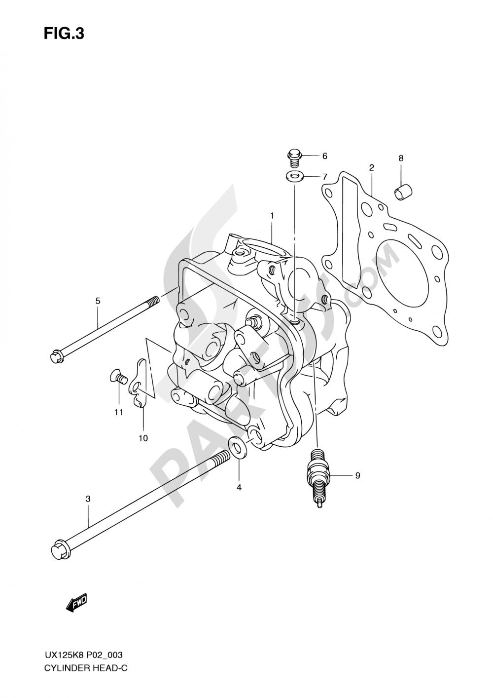 3 - CYLINDER HEAD Suzuki SIXTEEN UX125 2008