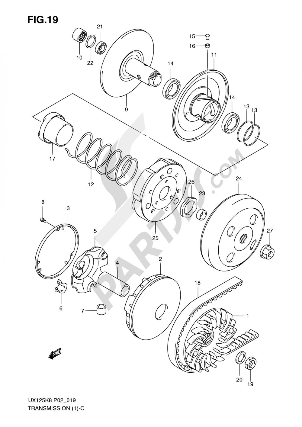 19 - TRANSMISSION (1) Suzuki SIXTEEN UX125 2010