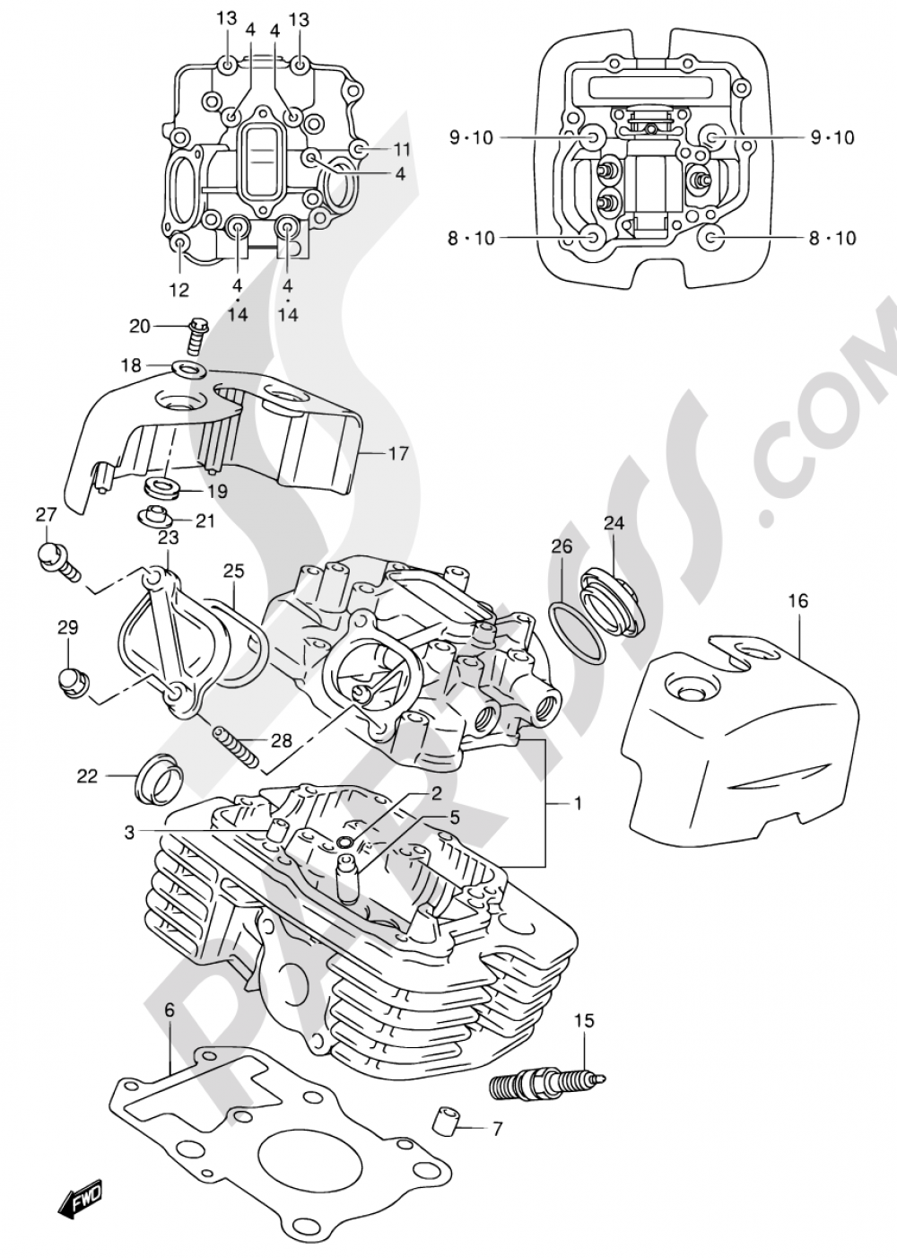 2 - CYLINDER HEAD (REAR) Suzuki INTRUDER VL125 2001