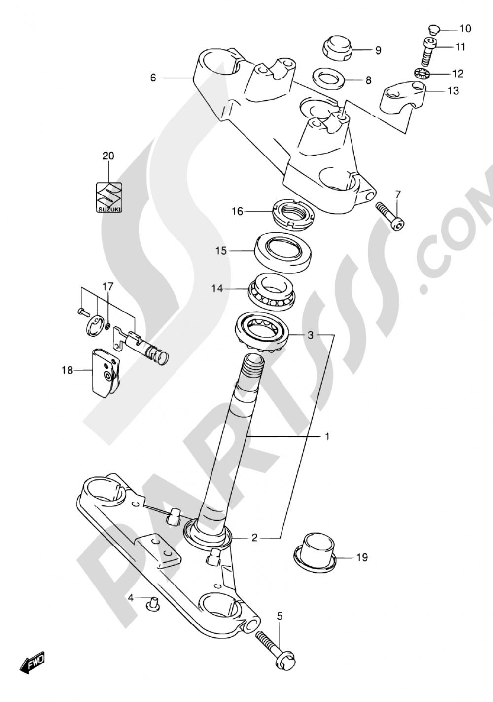 43A - FRONT FORK BRACKET (MODEL K2/K3/K4) Suzuki INTRUDER VL125 2004