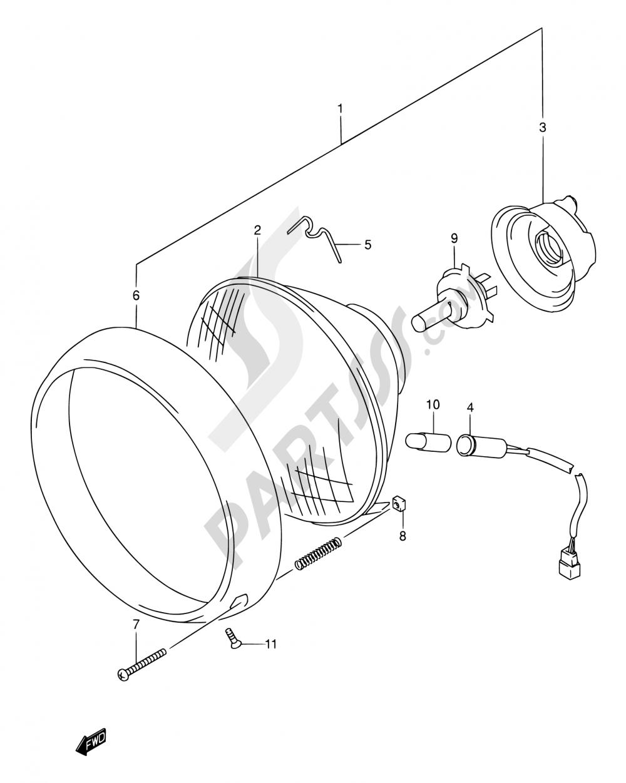 29 - HEADLAMP (MODEL W/X E02,E04,E17,E18,E22,E25,E34,P37) Suzuki INTRUDER VL150 2001