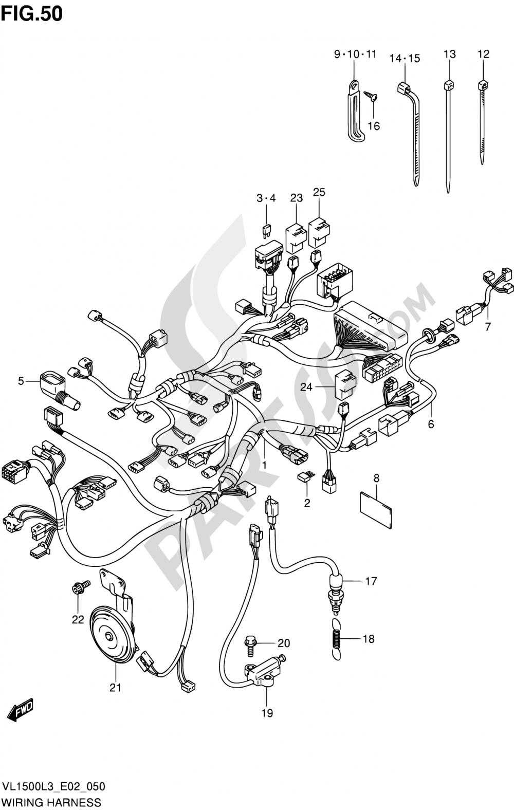 50 - WIRING HARNESS (VL1500L3 E02) Suzuki INTRUDER VL150 2013