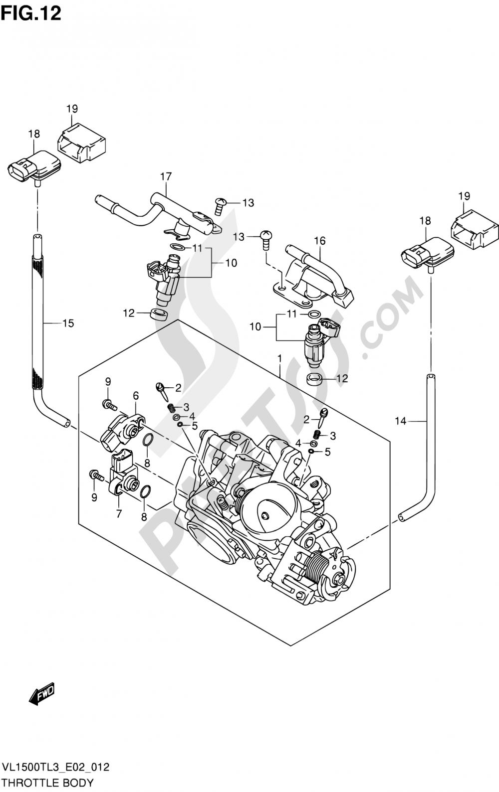 12 - THROTTLE BODY (VL1500TL3 E19) Suzuki INTRUDER VL150 2013