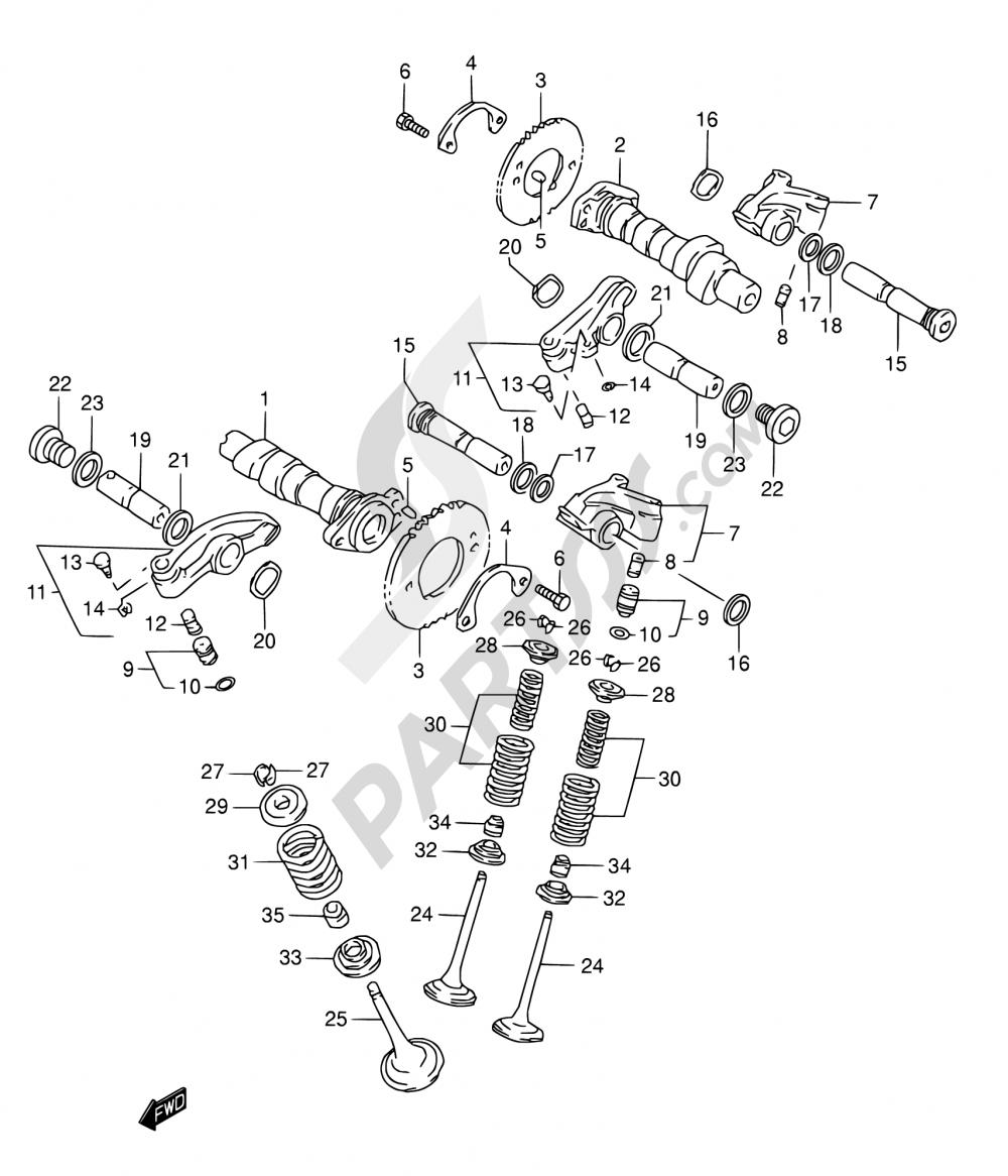 8 - CAMSHAFT/VALVE Suzuki INTRUDER VL150 1998