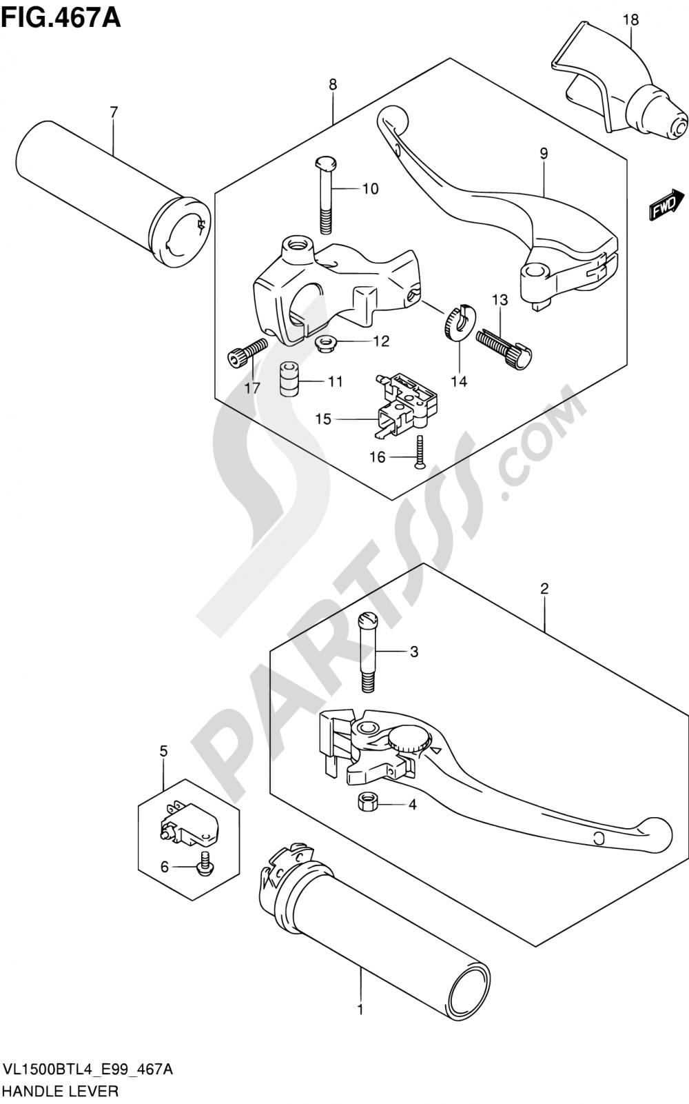 467A - HANDLE LEVER Suzuki INTRUDER VL150 2014