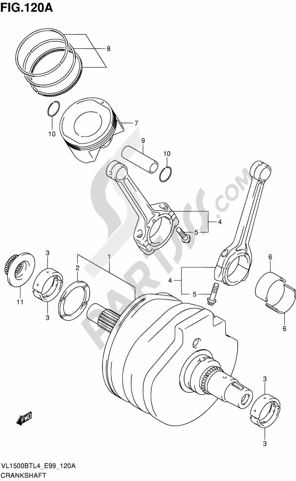 120A - CRANKSHAFT Suzuki INTRUDER VL150 2014