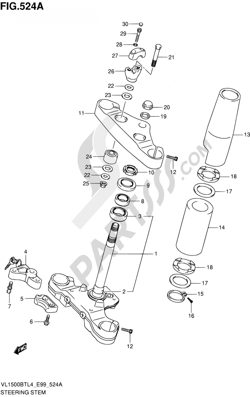 524A - STEERING STEM Suzuki INTRUDER VL150 2014