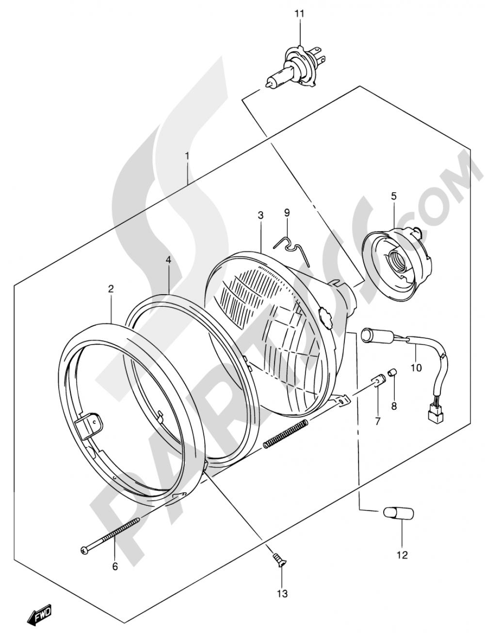 29 - HEADLAMP ASSY (MODEL K1/K2/K3/K4 E02,E19) Suzuki INTRUDER VL800 2002