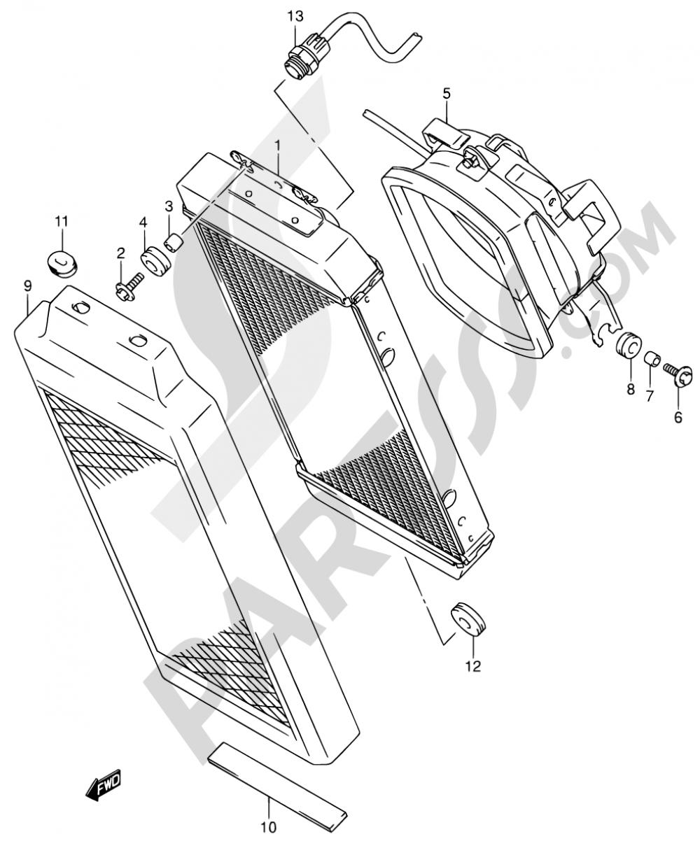 16 - RADIATOR Suzuki INTRUDER VL800 2002