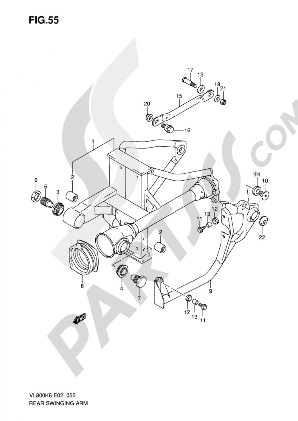 55 - REAR SWINGING ARM Suzuki INTRUDER VL800 2010