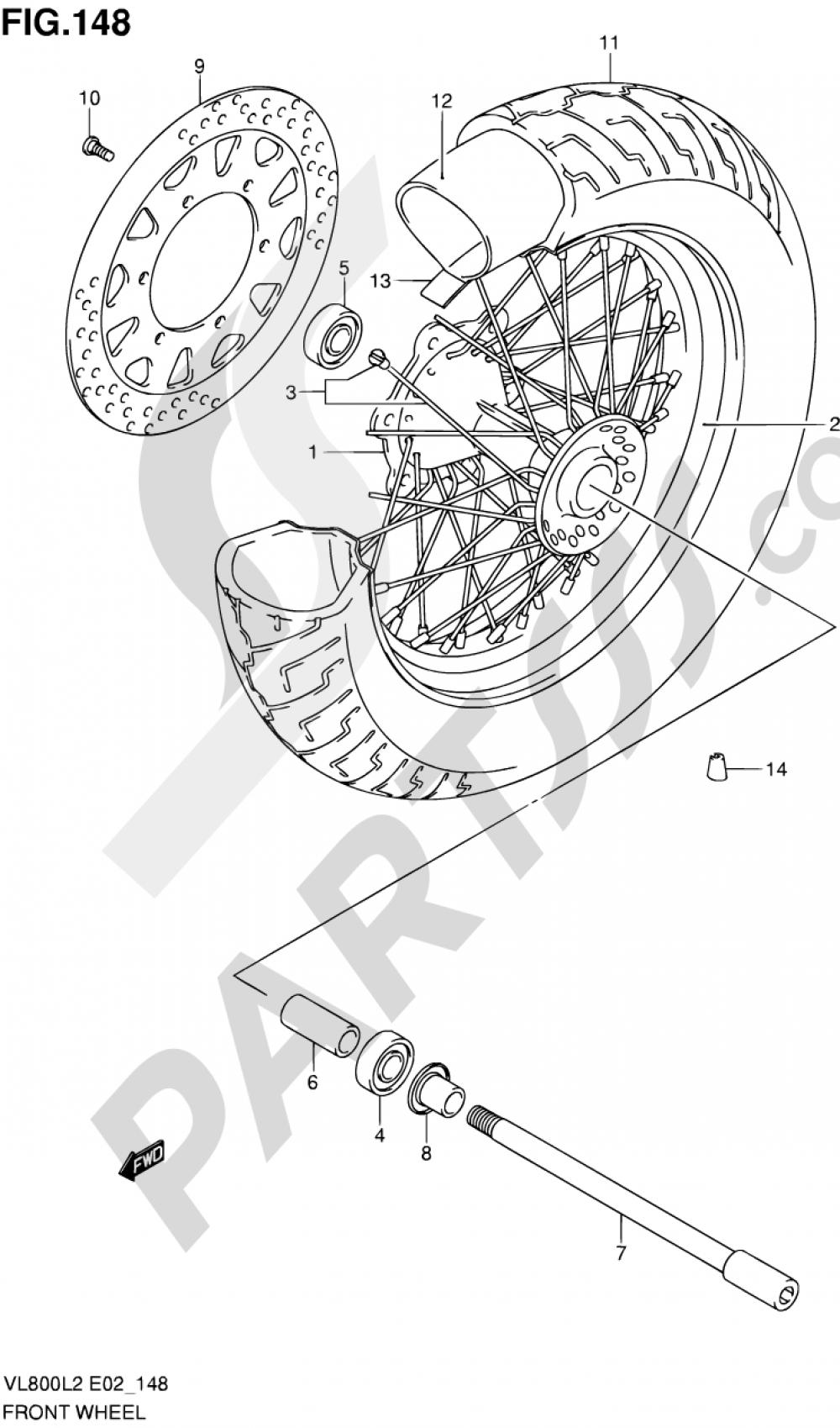 148 - FRONT WHEEL (VL800L2 E02) Suzuki INTRUDER VL800 2012
