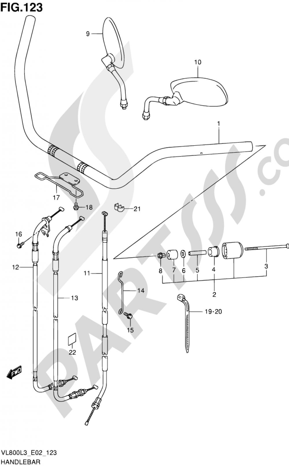 123 - HANDLEBAR (VL800CUEL3 E19) Suzuki INTRUDER VL800 2013