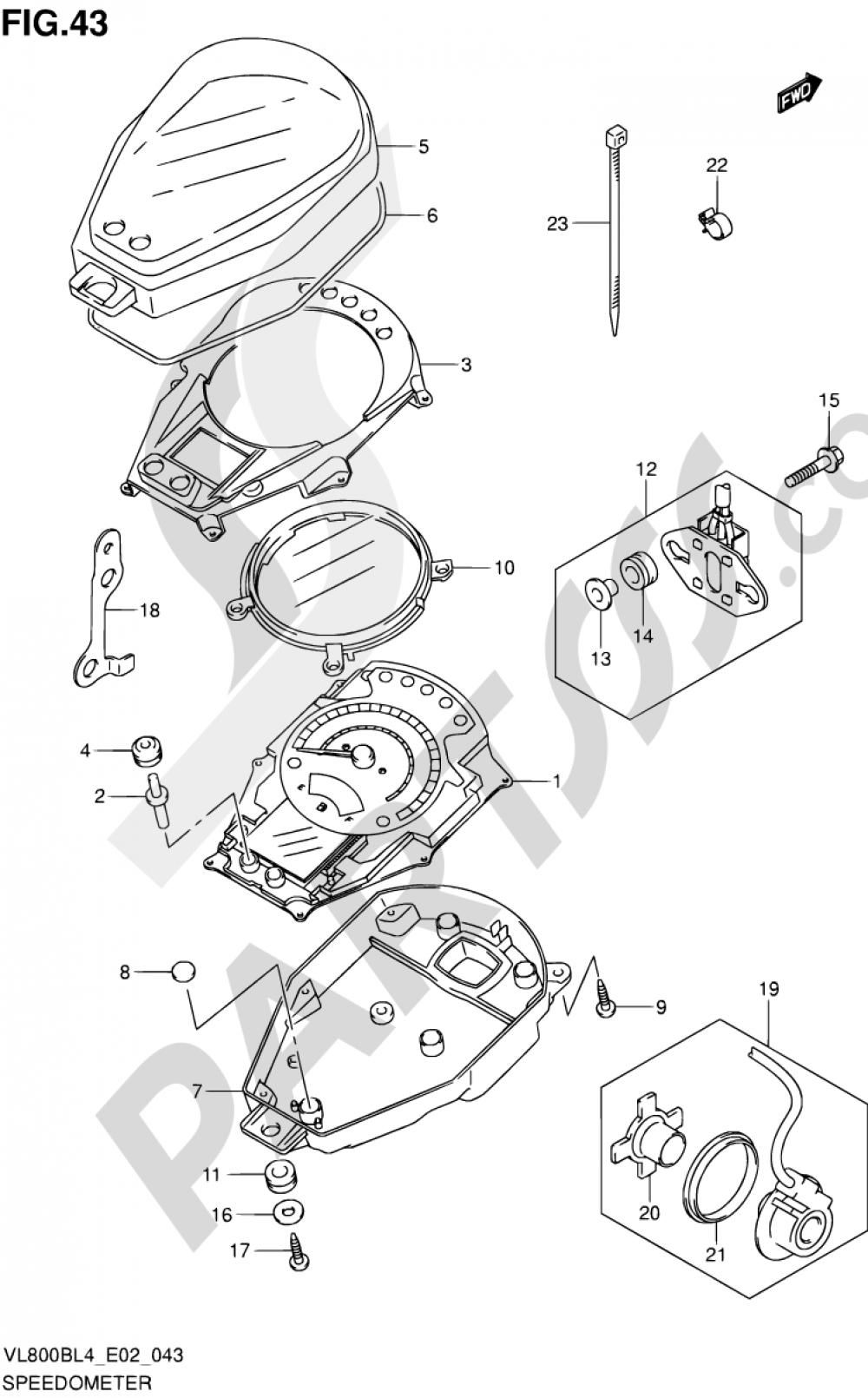 43 - SPEEDOMETER (VL800BL4 E02) Suzuki INTRUDER VL800 2014