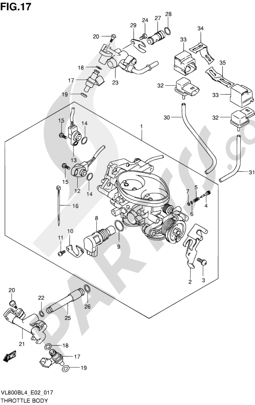 17 - THROTTLE BODY (VL800BL4 E02) Suzuki INTRUDER VL800 2014