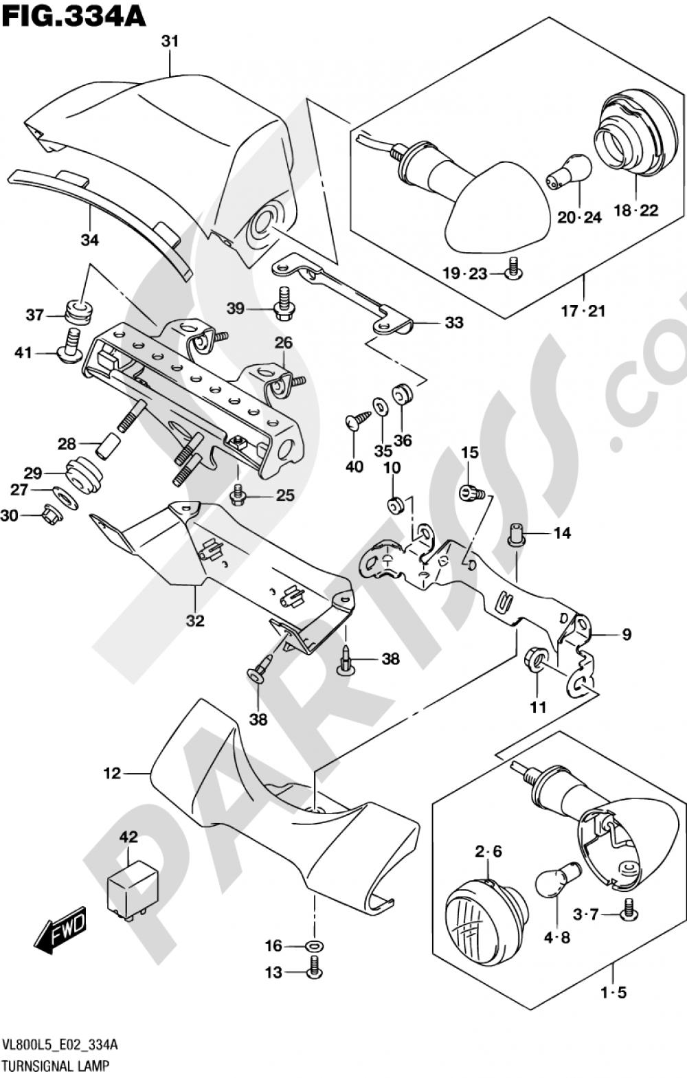 334A - TURNSIGNAL LAMP (VL800L5 E02) Suzuki INTRUDER VL800 2015