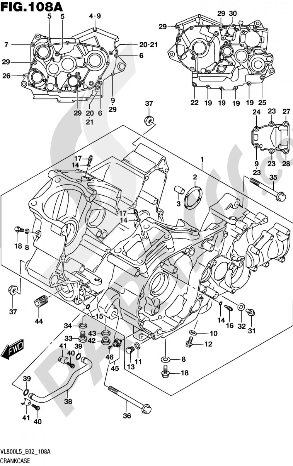 108A - CRANKCASE (VL800L5 E02) Suzuki INTRUDER VL800 2015