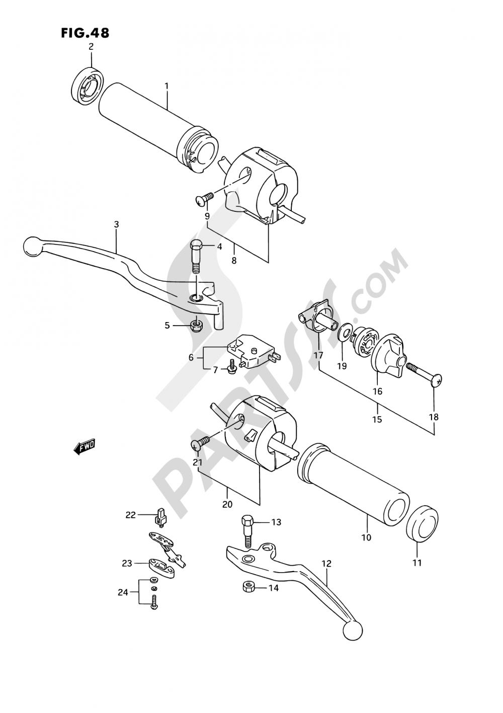 48 - HANDLE SWITCH (MODEL K/L/M/N/P/R) Suzuki VS1400GLP 1989