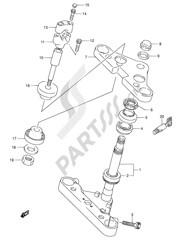 48A - STEERING STEM (MODEL Y/K1/K2/K3) Suzuki VS1400GLP 2002