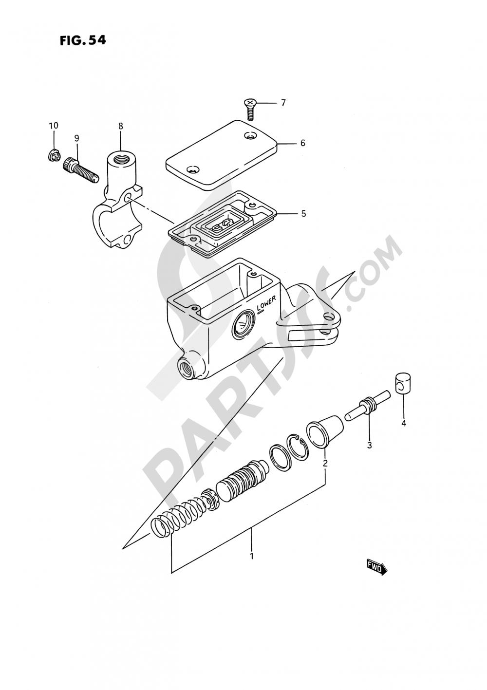 54 - CLUTCH CYLINDER (SEE NOTE) Suzuki VS1400GLP 1992