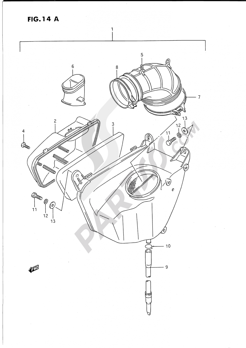 14A - AIR CLEANER (REAR)(MODEL S) Suzuki VS1400GLP 1995