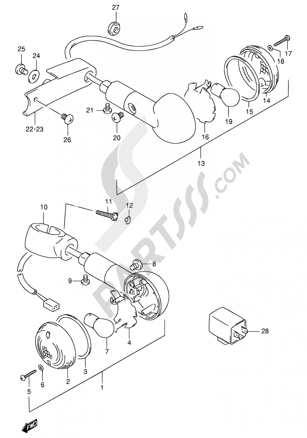 30 - TURN SIGNAL LAMP Suzuki VS1400GLP 1996