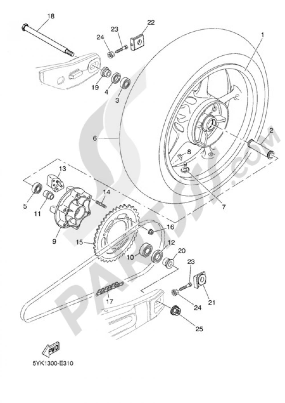 REAR WHEEL Yamaha MT-03 2006