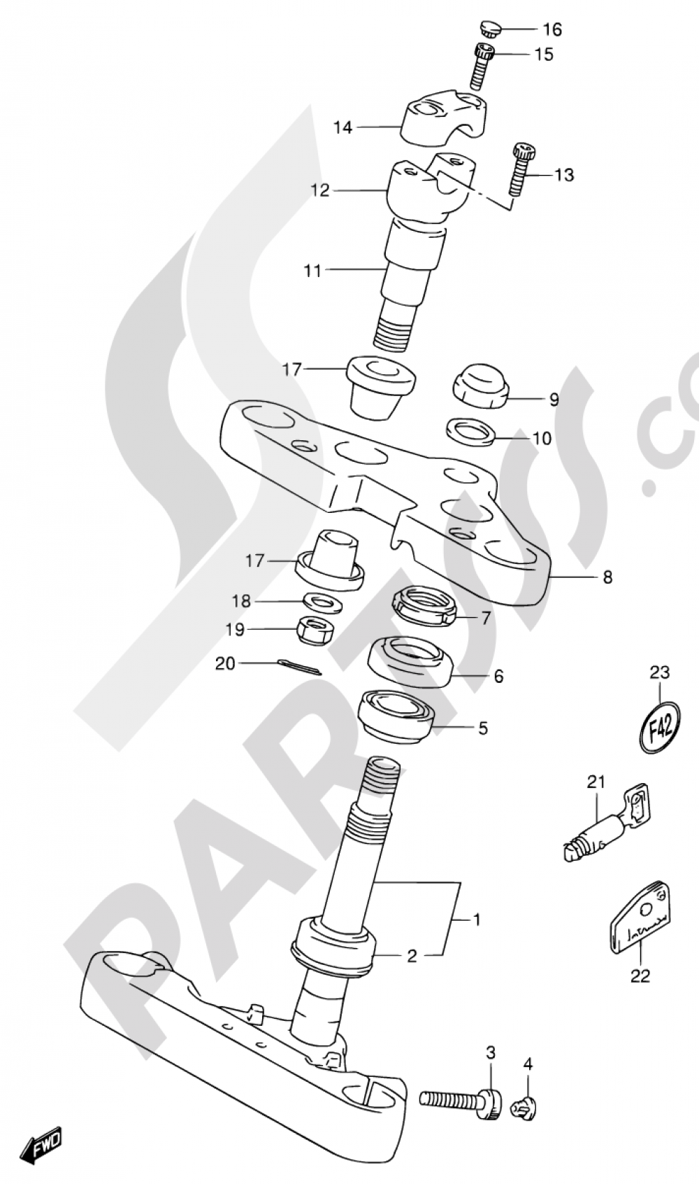 49 - STEERING STEM (MODEL N/P/R) Suzuki VS800GL 1992