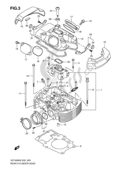 Suzuki VZ1500 2010 3 - REAR CYLINDER HEAD