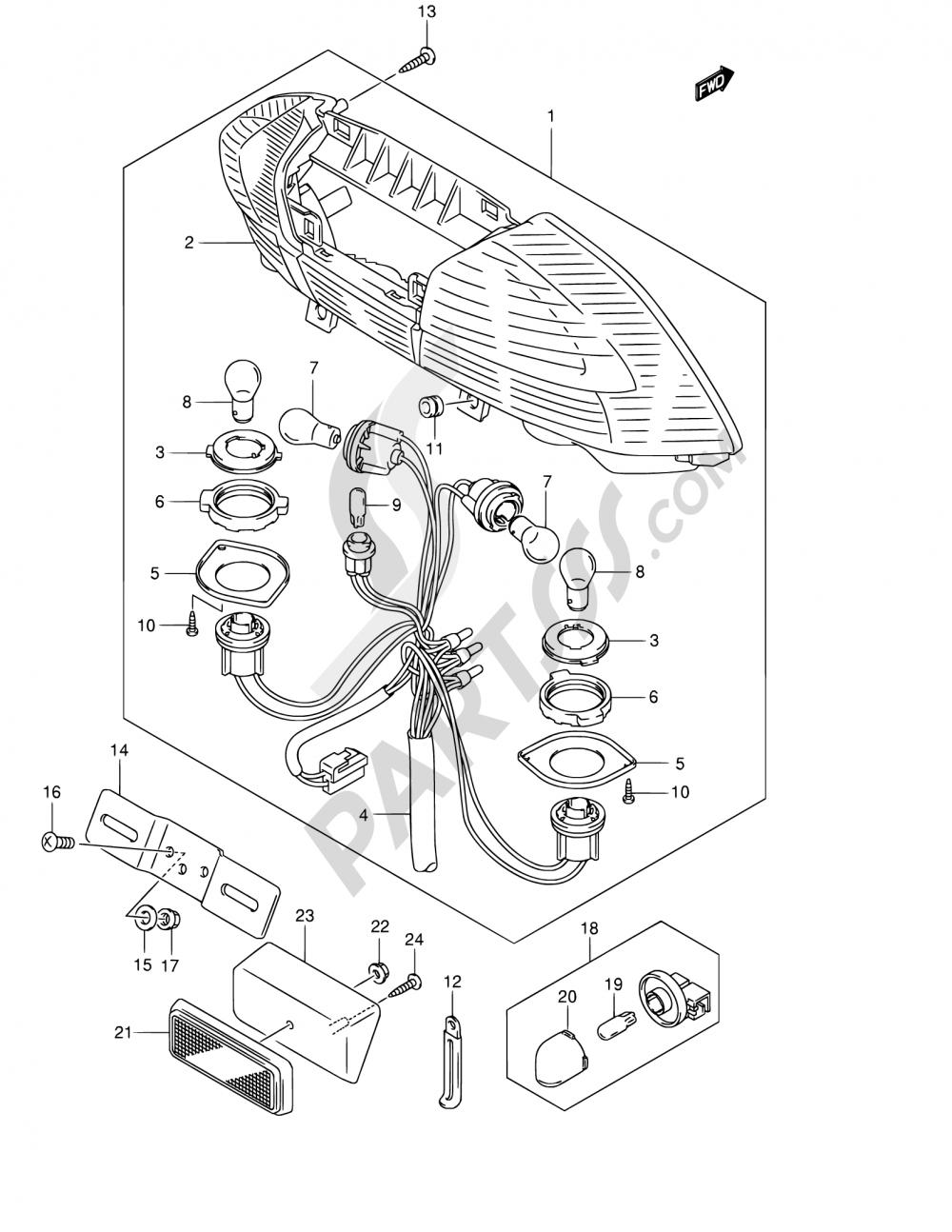 30A - REAR COMBINATION LAMP (MODEL K3 E38) Suzuki BURGMAN AN250 2006