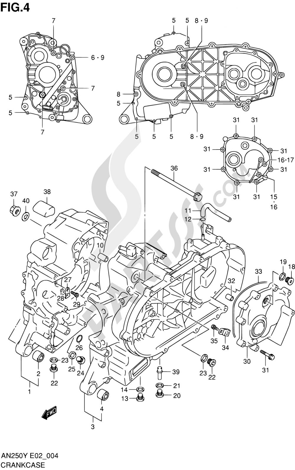 4 - CRANKCASE Suzuki BURGMAN AN250 1998