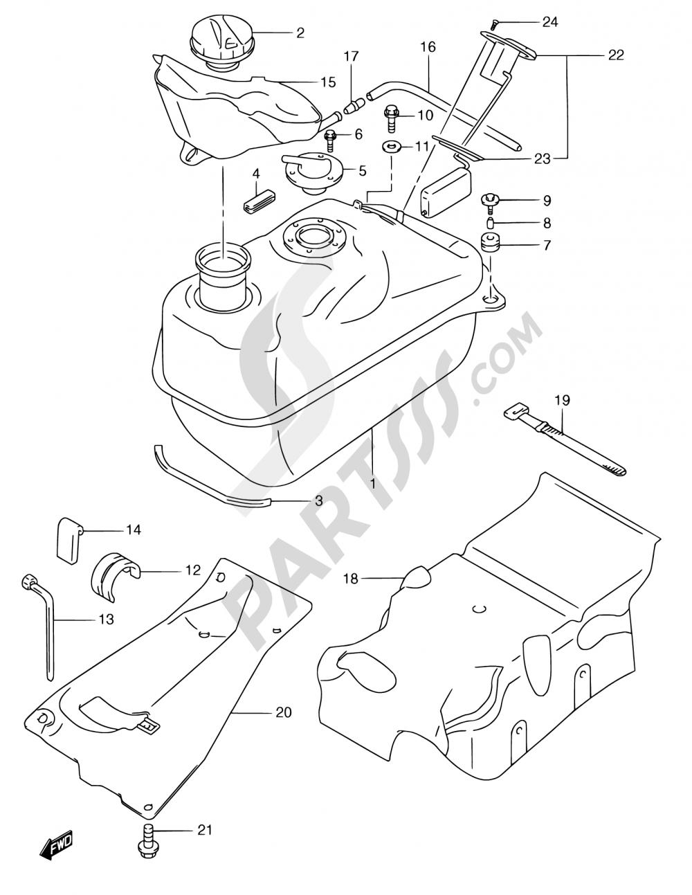 34 - FUEL TANK (MODEL W/X/Y) Suzuki BURGMAN AN250 1999