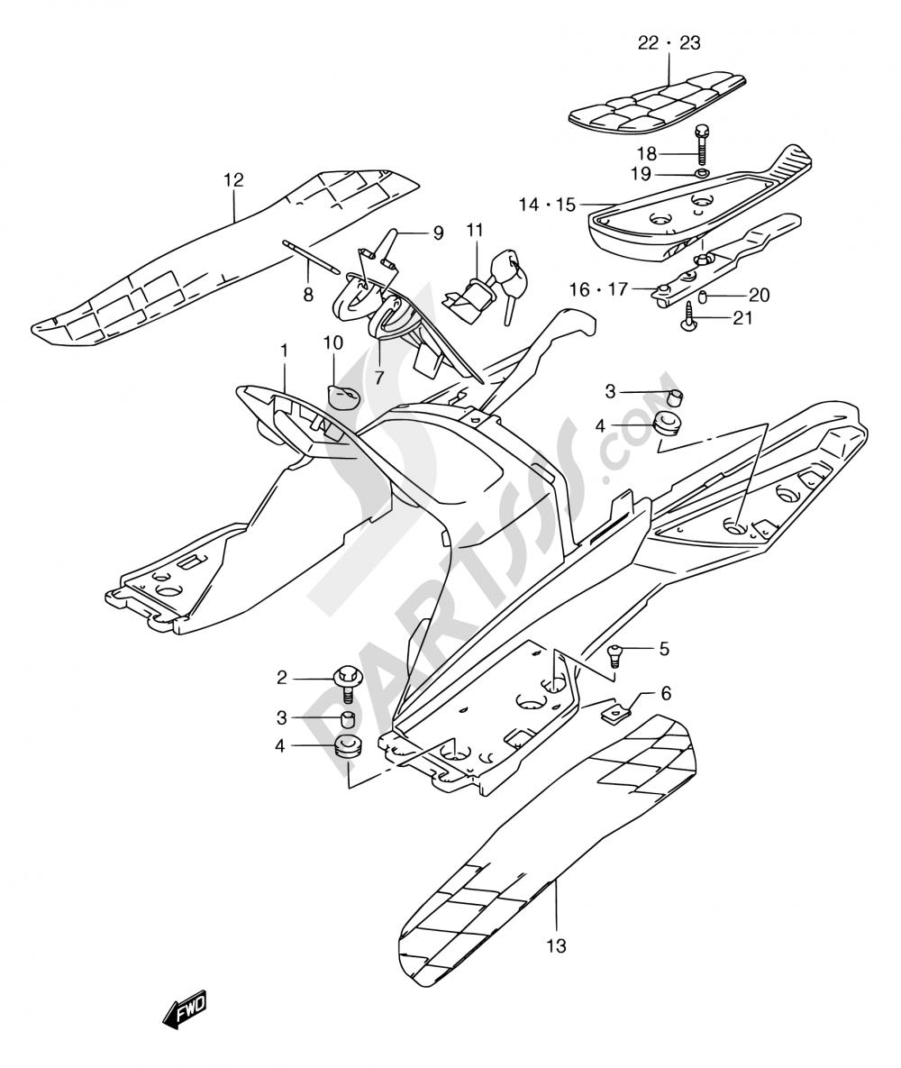 39A - REAR LEG SHIELD (MODEL Y) Suzuki BURGMAN AN250 2000