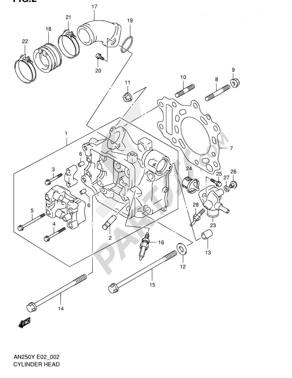2 - CYLINDER HEAD (MODEL W/X/Y) Suzuki BURGMAN AN250 2000