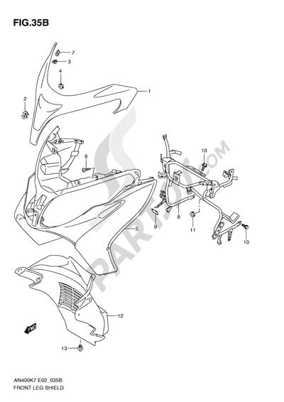 Suzuki BURGMAN AN400 2010 35B - FRONT LEG SHIELD (MODEL L0)