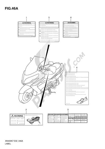 Suzuki BURGMAN AN400 2010 46A - LABEL (MODEL L0)