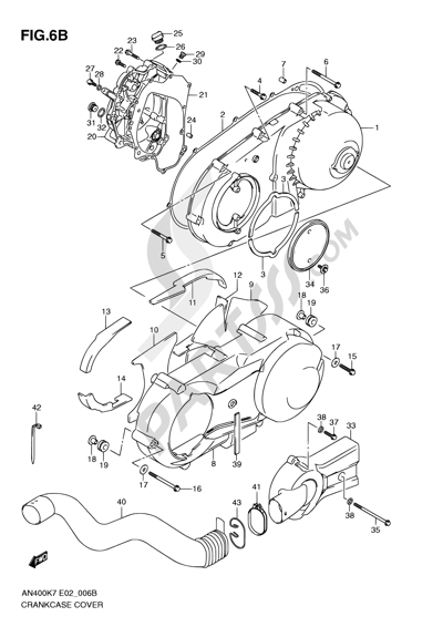 Suzuki BURGMAN AN400 2010 6B - CRANKCASE COVER (MODEL L0)