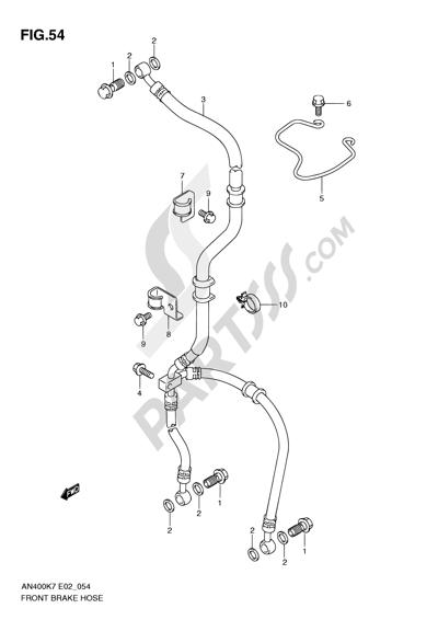 Suzuki BURGMAN AN400 2010 54 - FRONT BRAKE HOSE (AN400K7/ZK7/K8/ZK8/K9/L0)