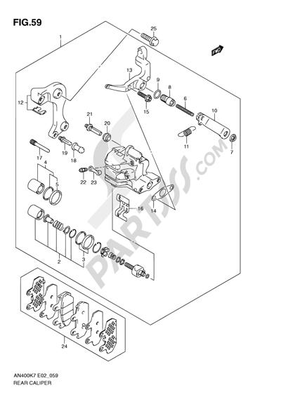 Suzuki BURGMAN AN400 2010 59 - REAR CALIPER (AN400K7/ZK7/K8/ZK8/K9/L0)