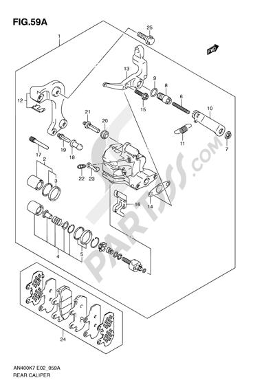 Suzuki BURGMAN AN400 2010 59A - REAR CALIPER (AN400AK9/ZAK9/AL0/ZAL0)