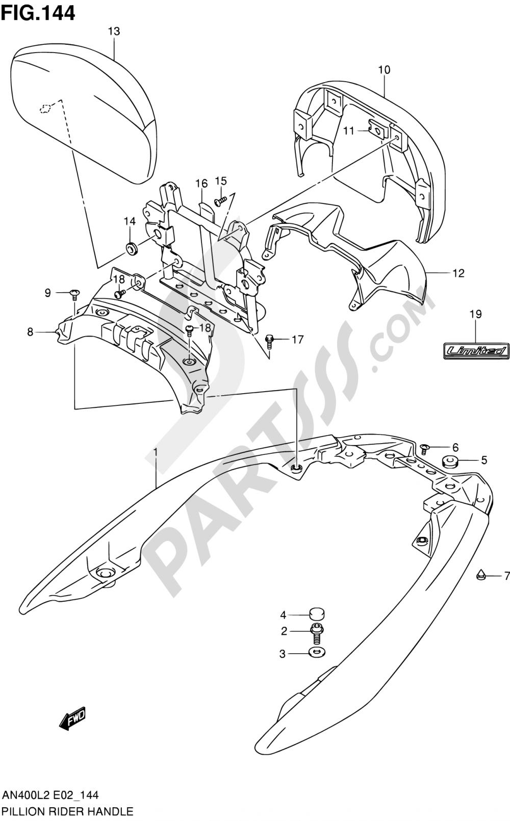 144 - PILLION RIDER HANDLE (AN400ZAL2 E19) Suzuki BURGMAN AN400 2012