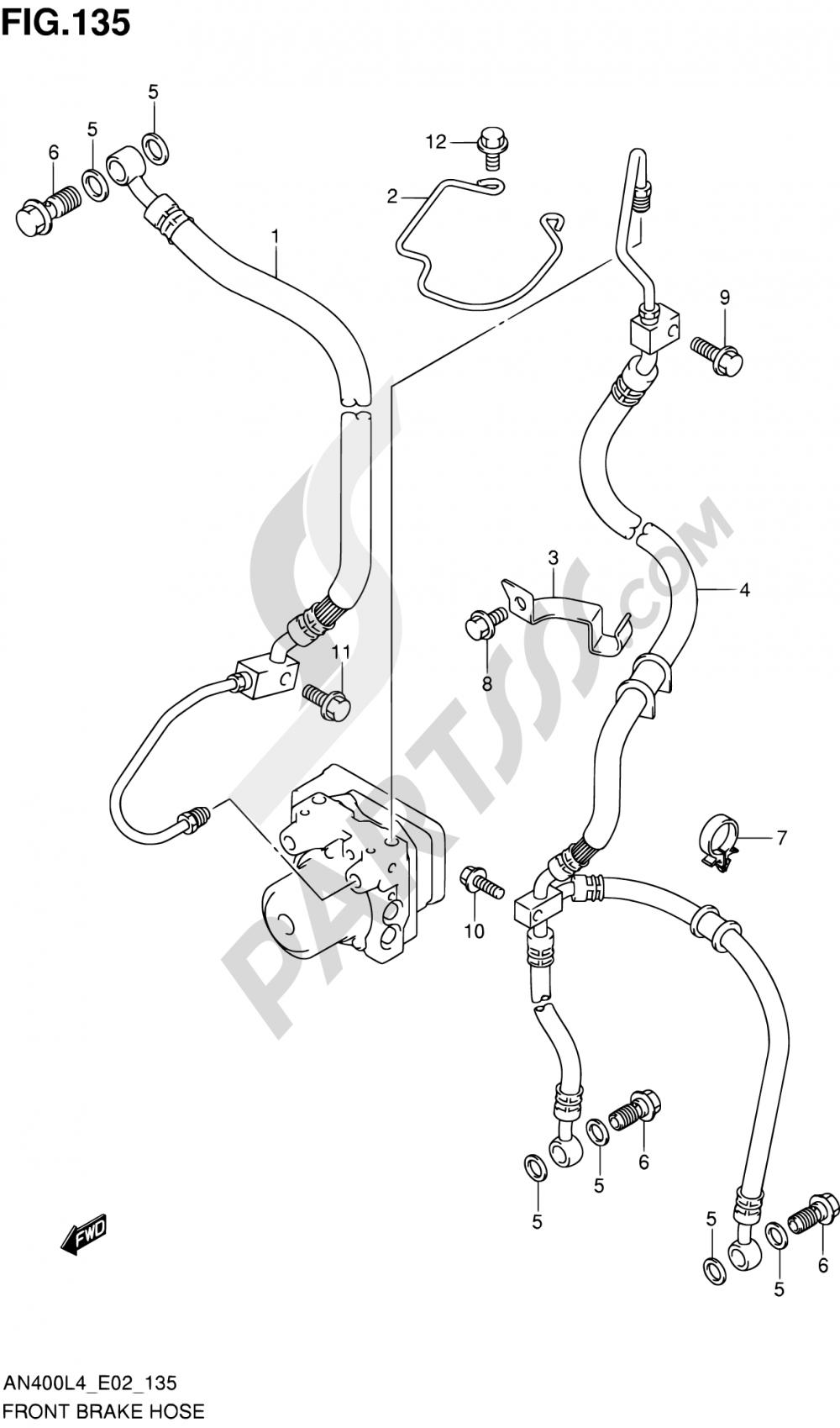 135 - FRONT BRAKE HOSE (AN400AL4 E02) Suzuki BURGMAN AN400 2014