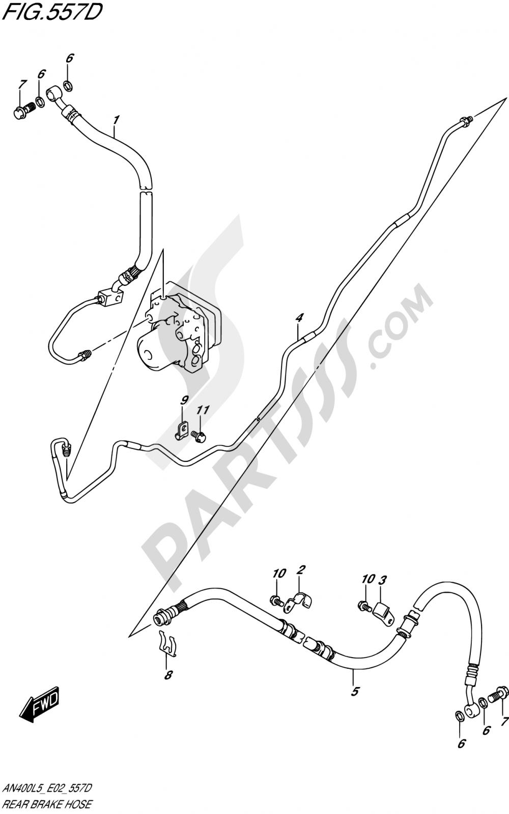 557D - REAR BRAKE HOSE (AN400ZAL5 E02) Suzuki BURGMAN AN400 2015