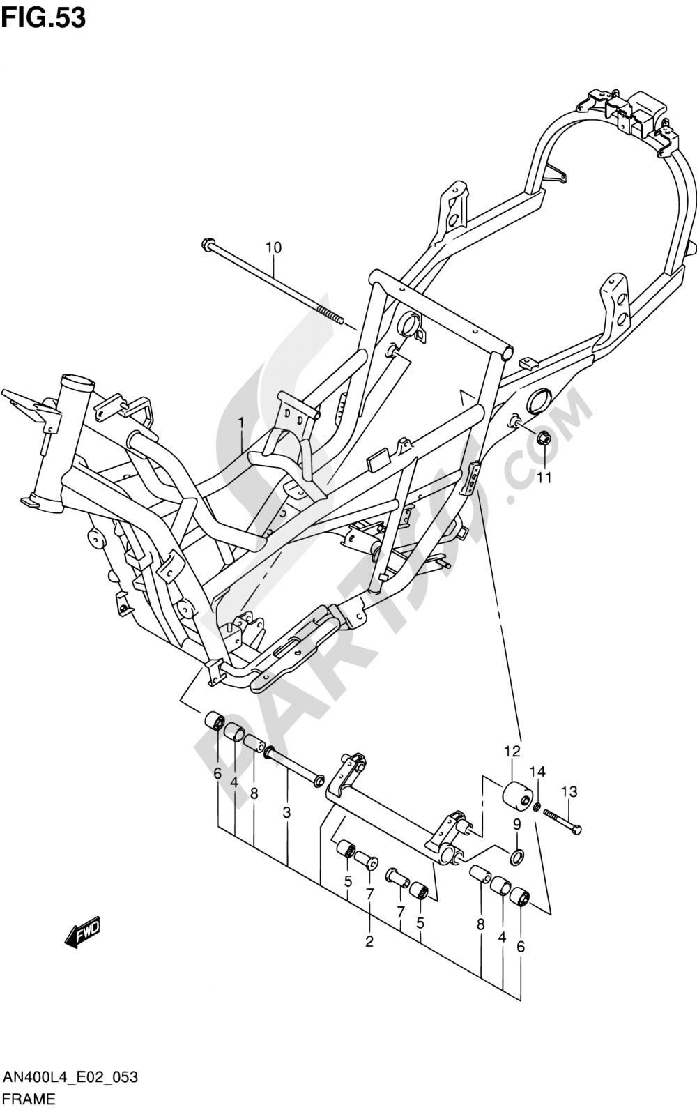 53 - FRAME (AN400L4 E19) Suzuki BURGMAN AN400A 2014