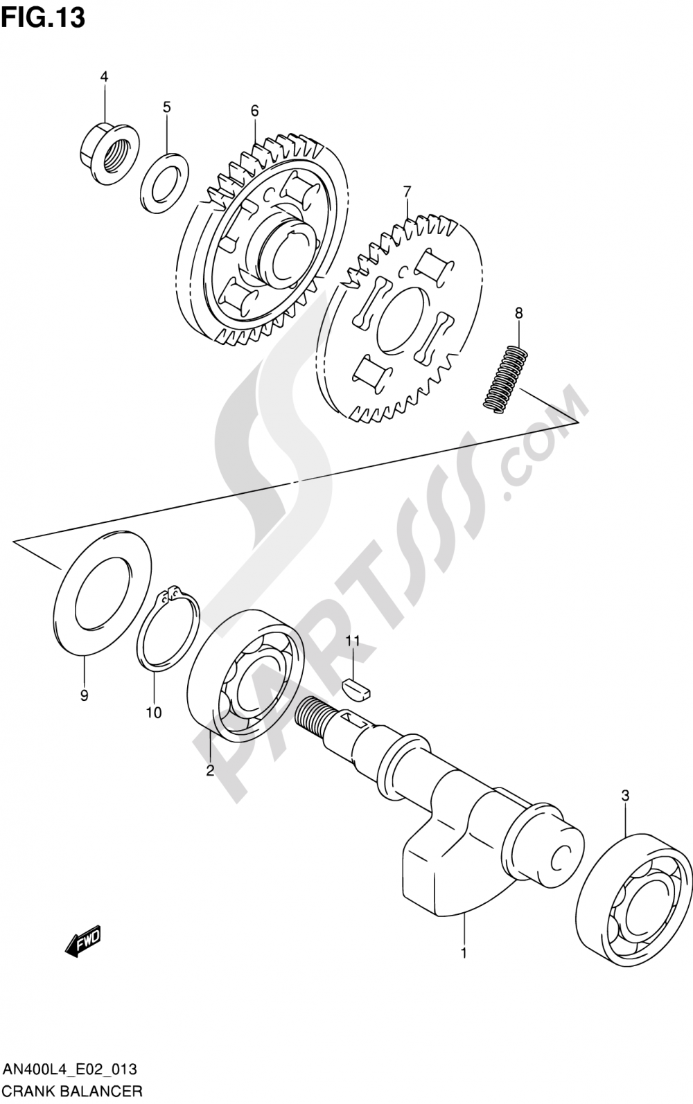 13 - CRANK BALANCER Suzuki BURGMAN AN400A 2014