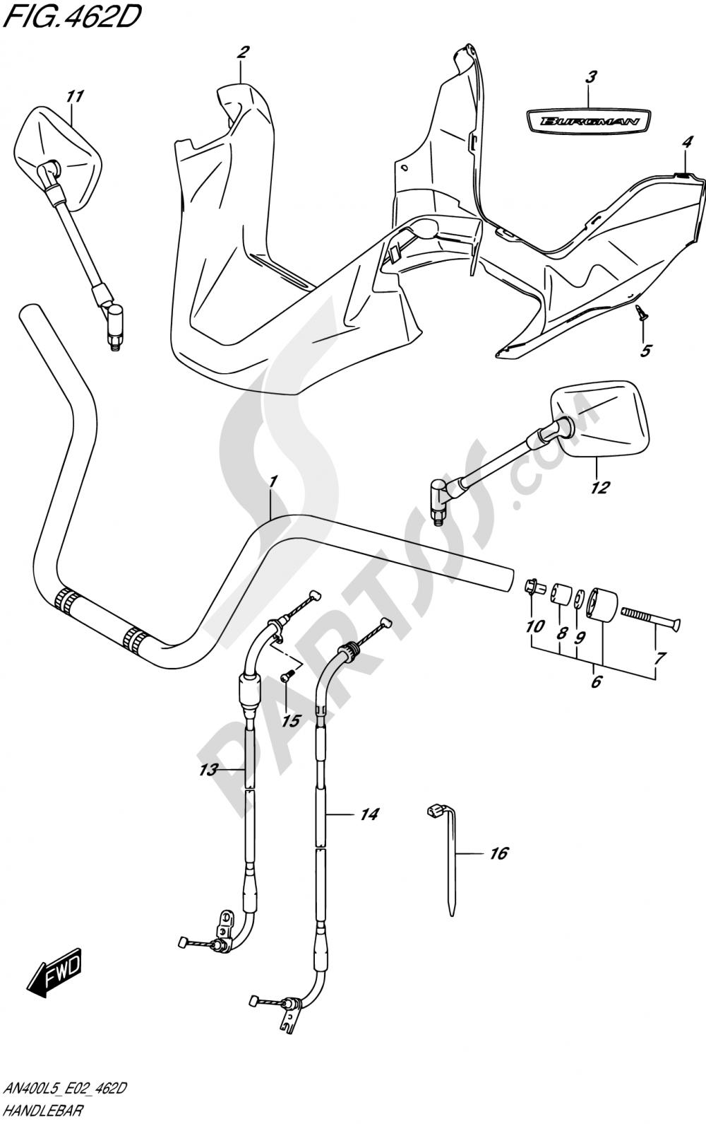 462D - HANDLEBAR (AN400ZAL5 E02) Suzuki BURGMAN AN400A 2015