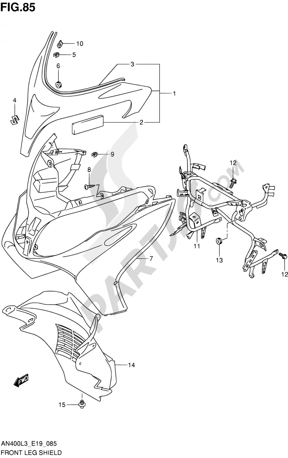 85 - FRONT LEG SHIELD (AN400AL3 E24) Suzuki BURGMAN AN400Z 2013