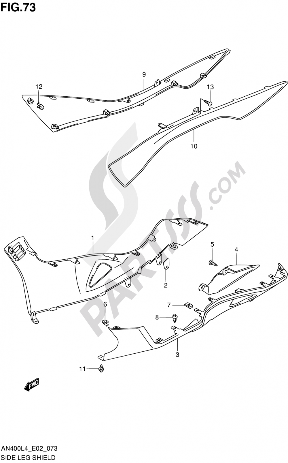 73 - SIDE LEG SHIELD (AN400AL4 E19) Suzuki BURGMAN AN400Z 2014