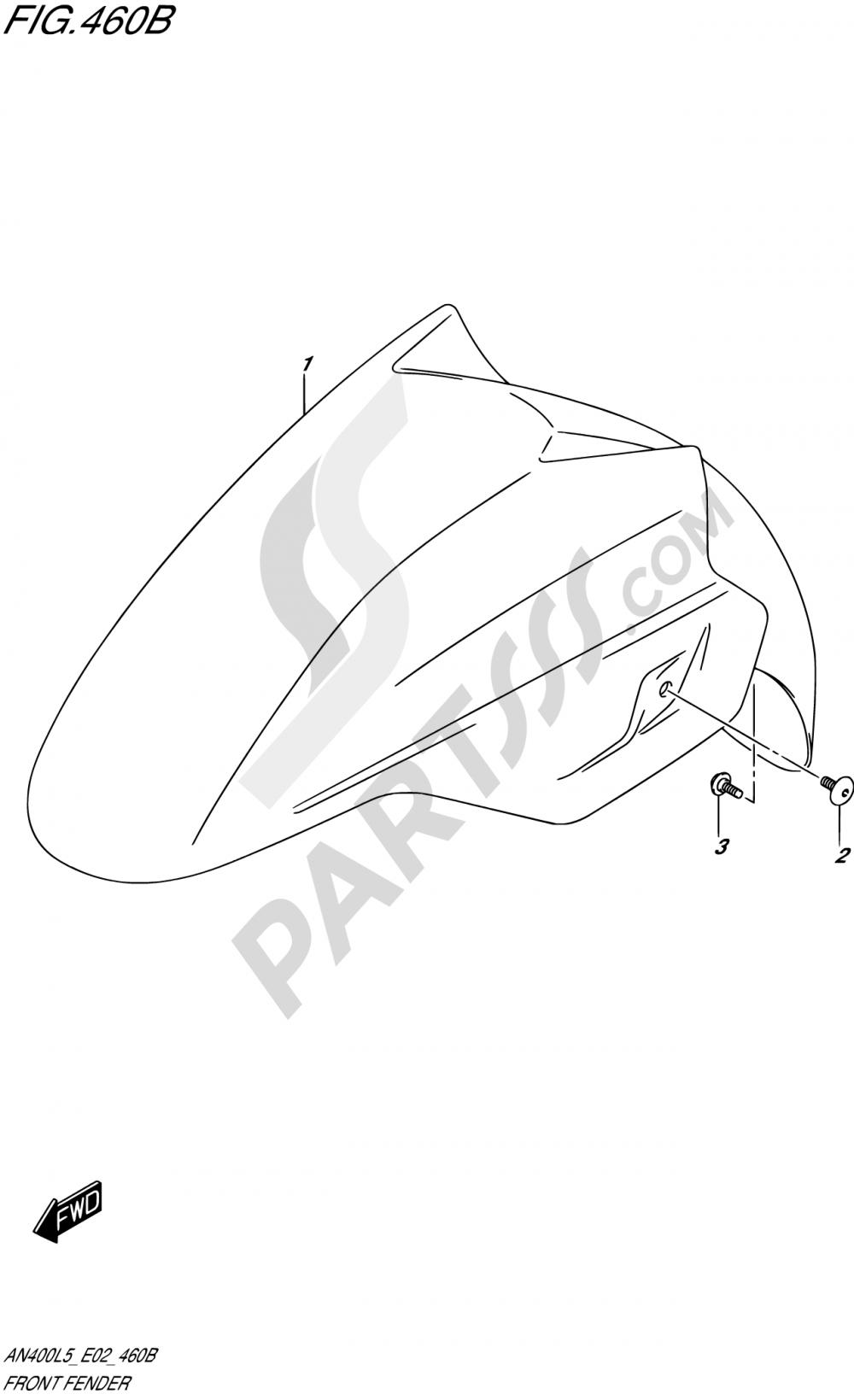 460B - FRONT FENDER (AN400AL5 E02) Suzuki BURGMAN AN400Z 2015